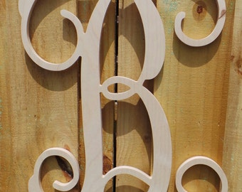 24 wooden vine script letter unfinished wooden initial wooden letters personalized door hanger initial door hanger