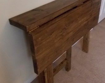 Rustic Space Saving Drop Leaf Breakfast Bar/Kitchen Table 014
