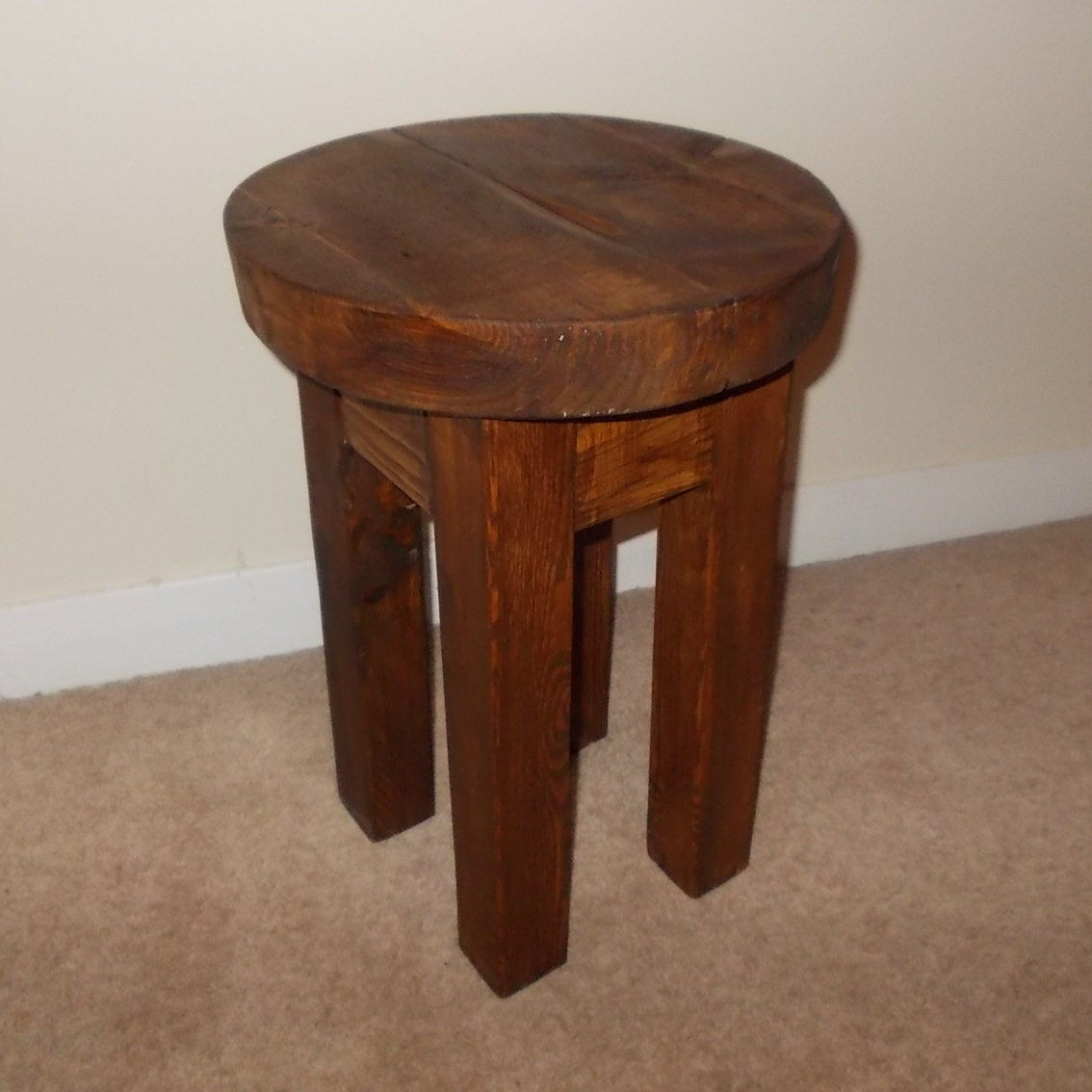 New hand made rustic solid wooden stool bar