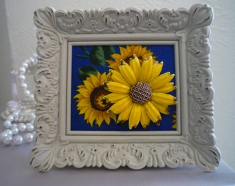 Vintage Sunflower Brooch - Wearable Framed Art