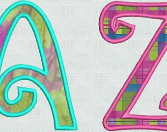 Instant Download Embroidery Machine Designs Curly Applique Large Numbers Font Monogram Alphabet Upper Lower PES Format