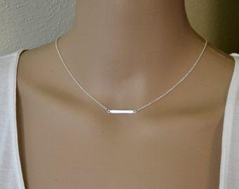 Silver Bar Necklace  Bar Pendant Miminalist Necklace Sideways Necklace,  Delicate Necklace, Simple Necklace,  Layering Necklace