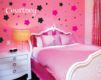free shipping 40 blumen zimmer wand aufkleber kinderzimmer. Black Bedroom Furniture Sets. Home Design Ideas