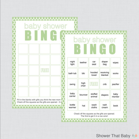 green baby shower bingo cards blank bingo cards and pre filled cards