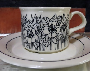Arabia of Finland, Esteri Tomula, Black Krokus coffee cup and saucer.