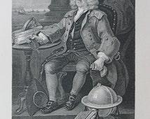 Original William Hogarth Antique Print. Captain Thomas Coram , Founder of the Foundling Hospital