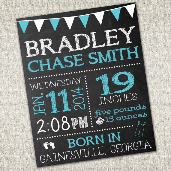 baby birth announcement sign photo prop chalkboard sign. Black Bedroom Furniture Sets. Home Design Ideas