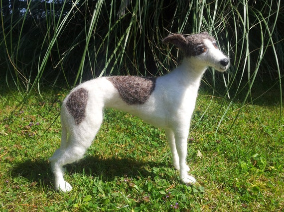 "Greyhound needle felted  3D sculpture 9"" tall"