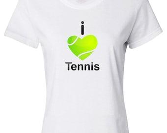 I Love Tennis Women's T-shirt, 100% Cotton, FREE SHIPPING