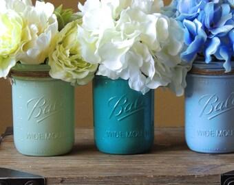 Teal  mason jar set, wedding decor, painted mason jars