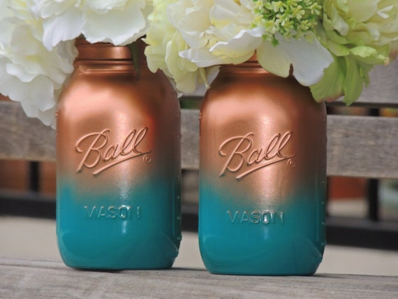 Turquoise and copper ombre painted mason, wedding mason jars, home decor, medium mason jars, mason vase, jade jars, teal mason jars