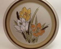Vintage Acsons Dinner Plate Adela Pattern - Raised Rim with Brown Border - Yellow Orange and White Flowers - Outside the Lines Style