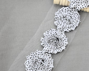 1/2 Yard Shabby Rose Trim 7 pcs Shabby Flower FREE Shipping for 20.00 Order White Black Polka Dot Shabby Chiffon Flower LA103