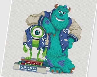 PDF Cross Stitch pattern - Monsters University - INSTANT DOWNLOAD
