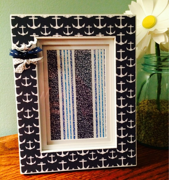 4x6 white picture frame navy blue and white anchors from madewithlovebyeg on etsy studio. Black Bedroom Furniture Sets. Home Design Ideas