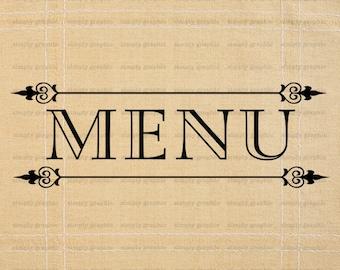 Menu Sign, Wedding Menu, Menu Board, Chef, Food, Restaurant Menu, Burlap Digital Paper, Word Art, Calligraphy, Fabric Transfer, Iron On b179