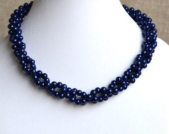 wedding  pearl necklace,pearl necklaces,,bridesmaids necklace,navy glass pearls necklaces, pearl necklace,necklace,wedding,
