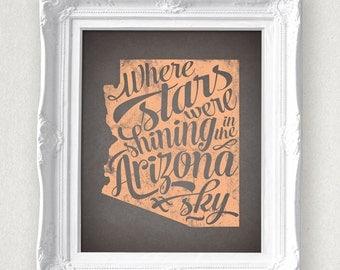Arizona Stars State Print 8 x 10