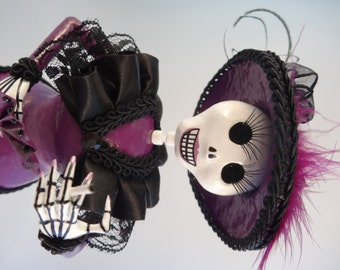 Plum Catrina, handmade Dia de los Muertos Day of the Dead Figure