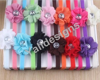 U Pick Wholesales Chiffon Flower Elastic Headband Baby Headbands. Flower with Crystal Headbands. Girl's Headband YTH02
