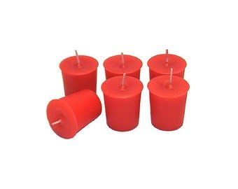 12 Red Classic Hand-poured Unscented Votive Candles