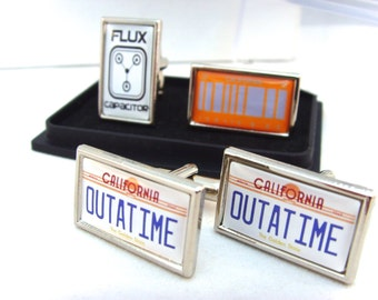 Back to the Future Car Number Plate Flux Capacitor Cufflinks
