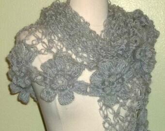 Gray Mohair Crochet Shawl Triangle Lace Bridal Flower Floral Wedding Wrap Scarf Boho Summer Wrap