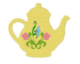 Teapot Machine Embroidery Design, Kitchen Design, filled design, 2x2, 4x4 5x7 6x10, Instant download