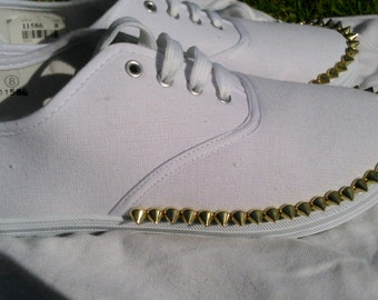 Gold spike white shoes Size 8