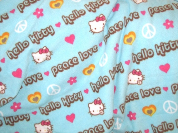 Sanrio Hello Kitty Fleece Fabric for No Sew Blanket Throw Pillows - Light Blue from Fabrics4Kids ...