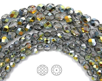 4mm (102pcs) Crystal Marea coated, Czech Fire Polished Round Faceted Glass Beads, 16 inch strand