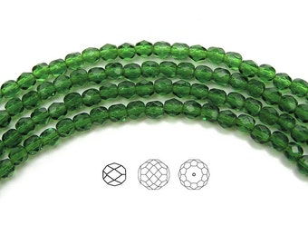 4mm (102pcs) Fern Green, Czech Fire Polished Round Faceted Glass Beads, 16 inch strand