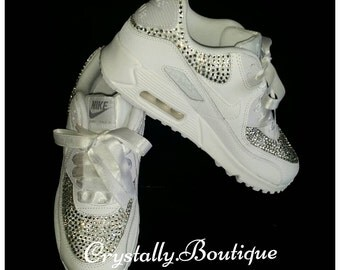 Beautiful Adult Nike Air max 90 Customised Bling with Swarovski and Rhinestone Crystals White size 6-11 UK Brand New!