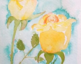 Yellow Rosebuds Watercolor Notecard