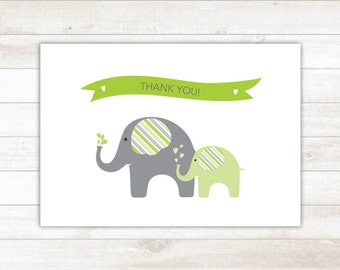 PRINTABLE thank you cards baby shower green elephants thank you card - personal use