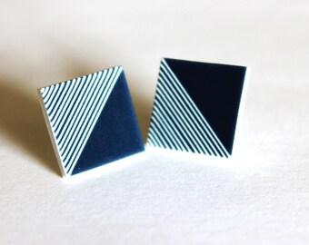Square handmade Geometric Stud Earrings