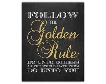 Golden rule - motivational quote print - inspirational home decor religious wall art inspirational printable office wall art playroom decor
