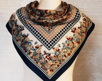 Vintage Retro Shawl. Floral Pattern Sharf. Spring Neckwear. Summer Bohemian Neckkerchief
