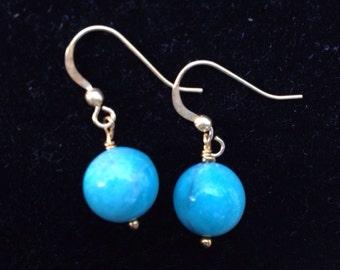 Round blue amazonite earrings