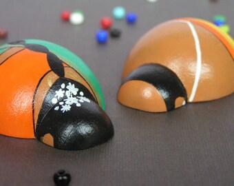 Pair of Devotees - Hand Painted Wooden Indian Golu Peg Lady Bug Dolls