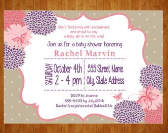 Butterfly Baby Shower Invitation or Birthday InvitationPRINTABLE