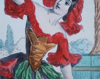 "Les Fleurs Animees  Fleur de Grenadier - 1847 hand tinted French print by J. J. Grandville 7"" x 10.5"""