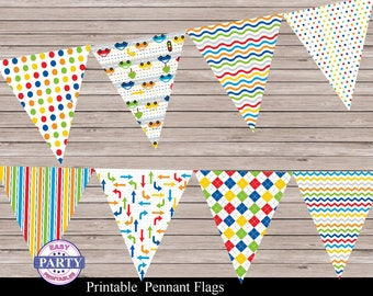 Transportation Party Pennant Flag Banner, pennant flags, colorful, striped, dots, Instant Download, banner, any occasion, coordinating item