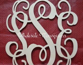 24 inch Wooden Monogram Letters- Unpainted- Wedding Decor- Home Decor