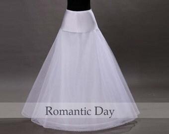 White 1-hoop A-Line tulle Wedding petticoat underskirt underdress crinoline Bridal Accessories 1004