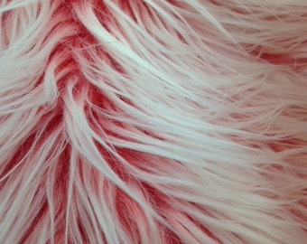 frosted shaggy faux fur fabric red ( long pile )