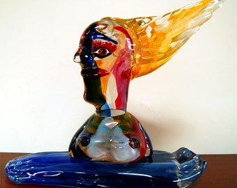 "6845 Murano Glass Sculpture ""The Bathing"" a Homage to Picasso by Walter Furlan"