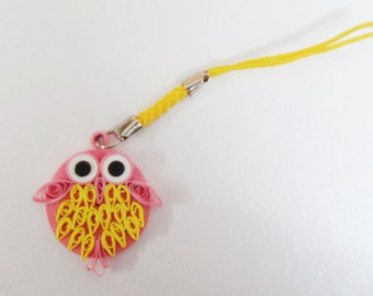 Quilling Paper Cell phone Strap String Hanger: Chubby Owl