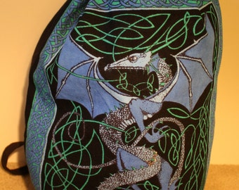Blue Celtic Dragon Backpack