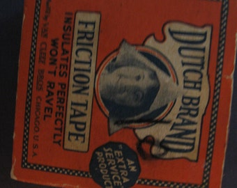 Vintage Dutch Brand Friction Tape Box Orange Black Unused Small 1940's